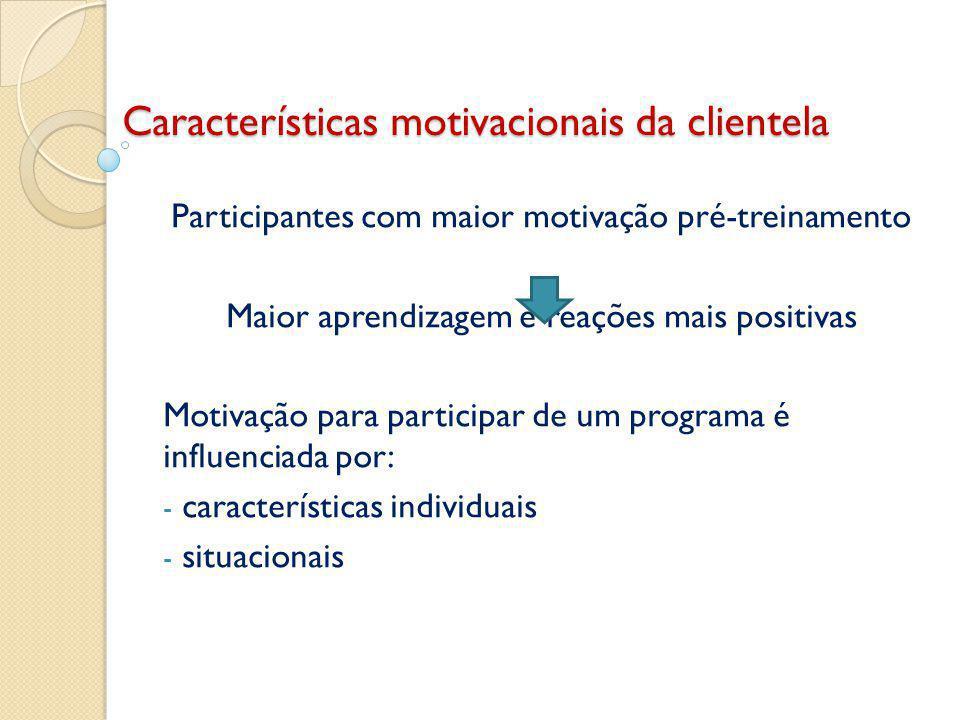 Características motivacionais da clientela Participantes com maior motivação pré-treinamento Maior aprendizagem e reações mais positivas Motivação para participar de um programa é influenciada por: - características individuais - situacionais