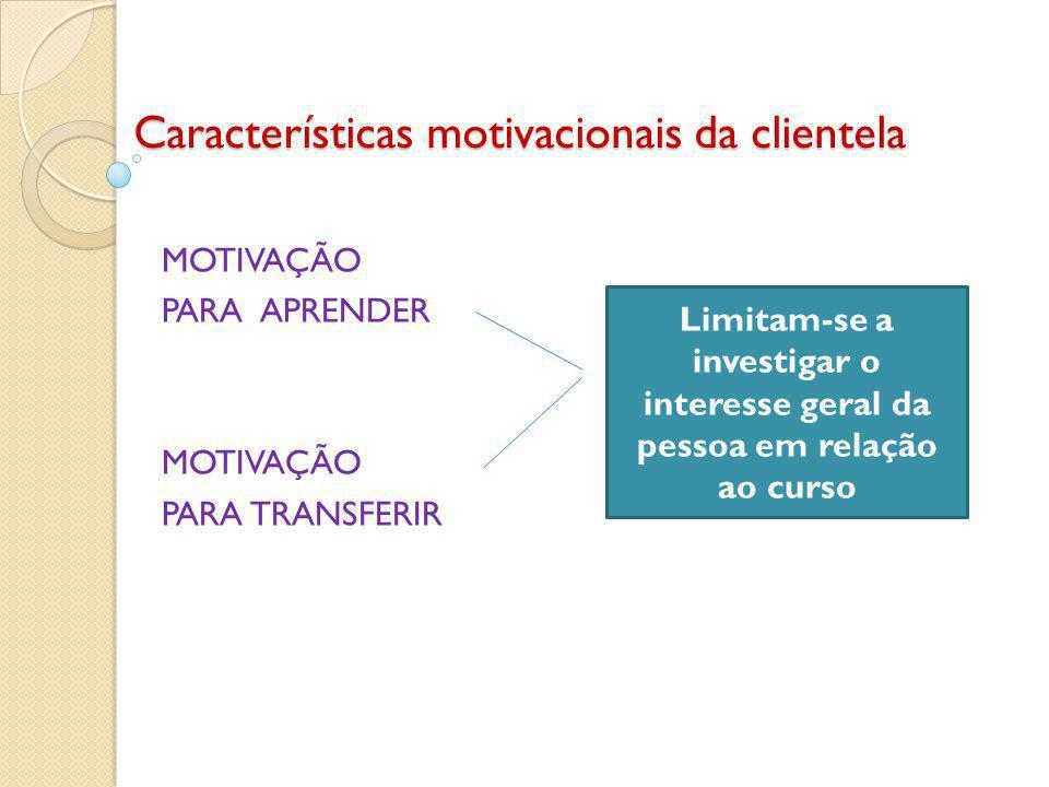 Características motivacionais da clientela MOTIVAÇÃO PARA APRENDER MOTIVAÇÃO PARA TRANSFERIR Limitam-se a investigar o interesse geral da pessoa em relação ao curso