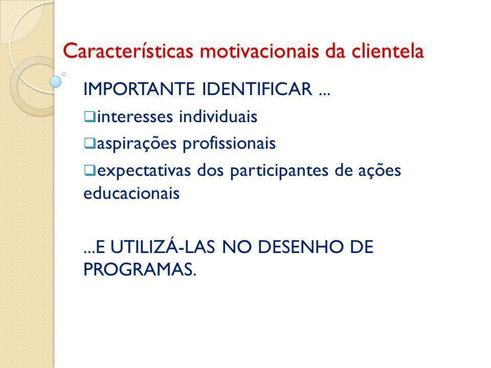 Características motivacionais da clientela IMPORTANTE IDENTIFICAR...