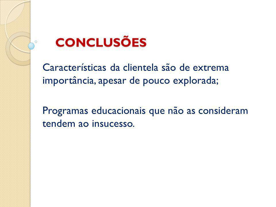 CONCLUSÕES Características da clientela são de extrema importância, apesar de pouco explorada; Programas educacionais que não as consideram tendem ao insucesso.
