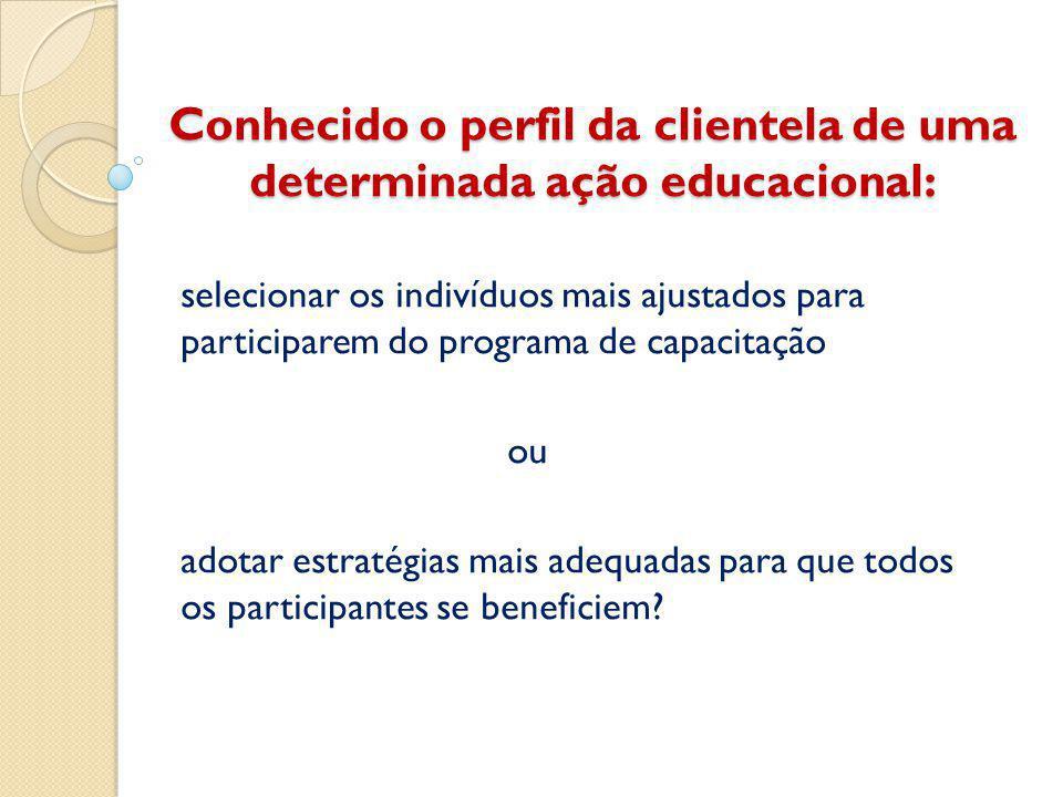 Conhecido o perfil da clientela de uma determinada ação educacional: selecionar os indivíduos mais ajustados para participarem do programa de capacitação ou adotar estratégias mais adequadas para que todos os participantes se beneficiem?
