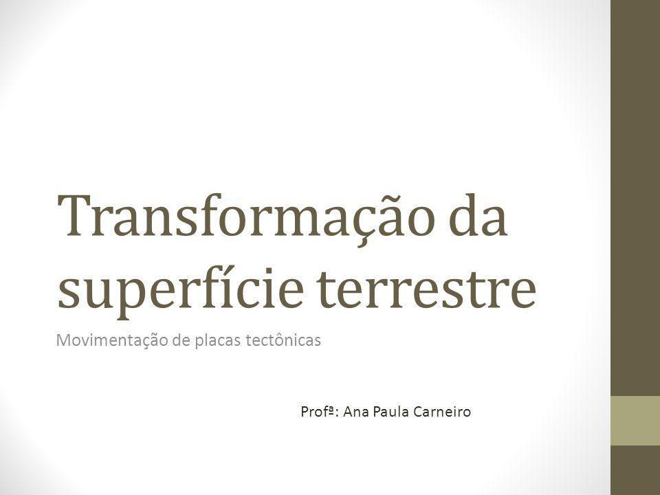 Transformação da superfície terrestre Movimentação de placas tectônicas Profª: Ana Paula Carneiro