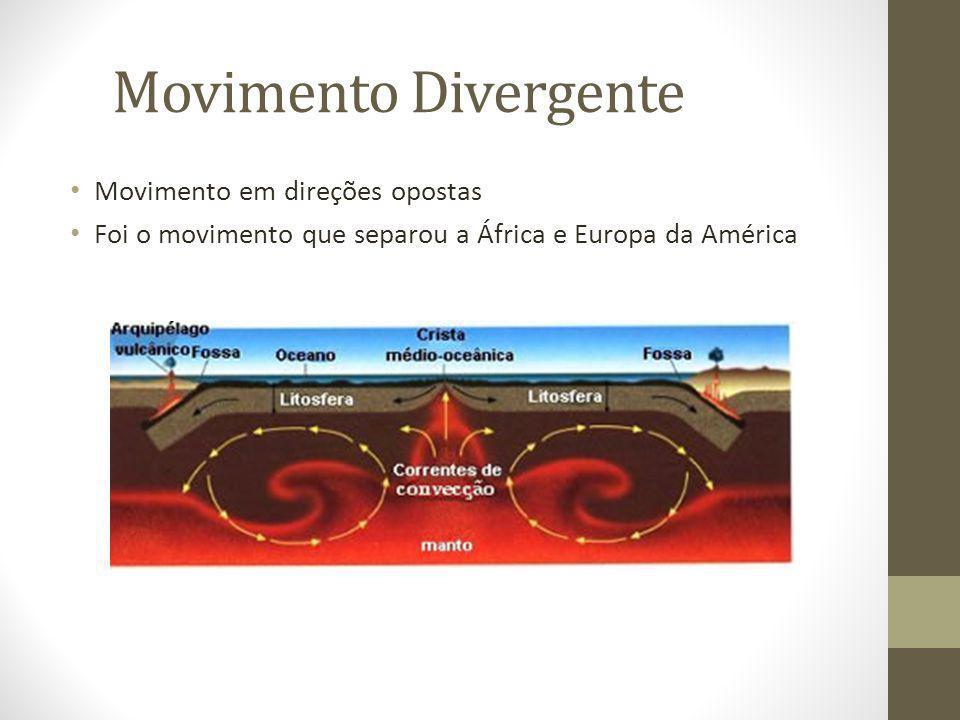 Movimento Divergente Movimento em direções opostas Foi o movimento que separou a África e Europa da América