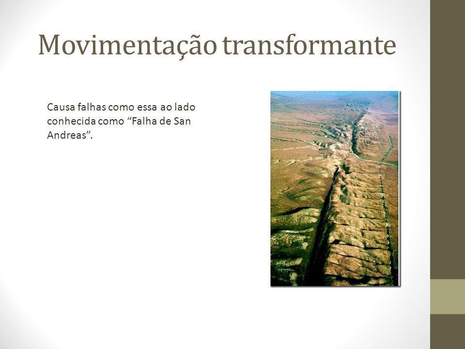 Movimentação transformante Causa falhas como essa ao lado conhecida como Falha de San Andreas .