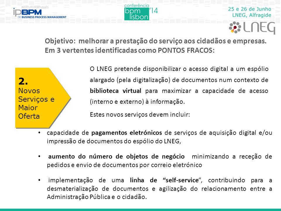Objetivo: melhorar a prestação do serviço aos cidadãos e empresas. Em 3 vertentes identificadas como PONTOS FRACOS: 2. Novos Serviços e Maior Oferta 2