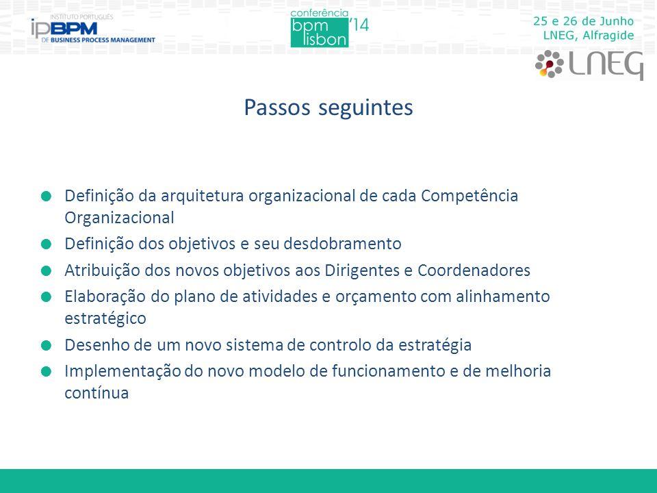 Passos seguintes  Definição da arquitetura organizacional de cada Competência Organizacional  Definição dos objetivos e seu desdobramento  Atribuiç