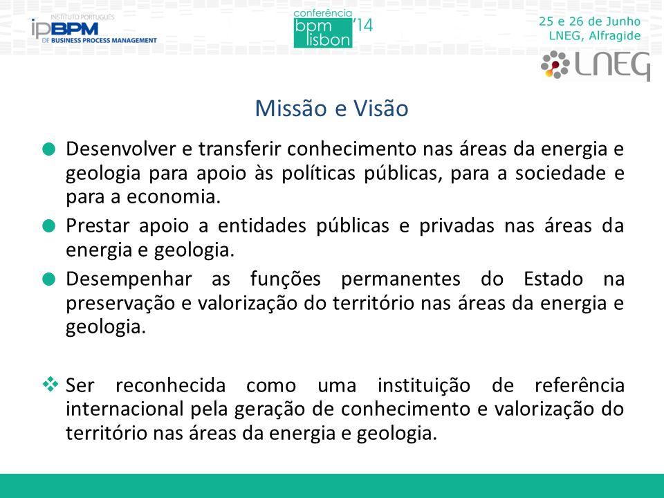 Missão e Visão  Desenvolver e transferir conhecimento nas áreas da energia e geologia para apoio às políticas públicas, para a sociedade e para a eco