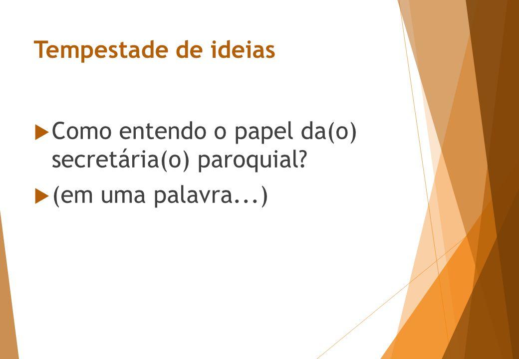 Tempestade de ideias  Como entendo o papel da(o) secretária(o) paroquial  (em uma palavra...)
