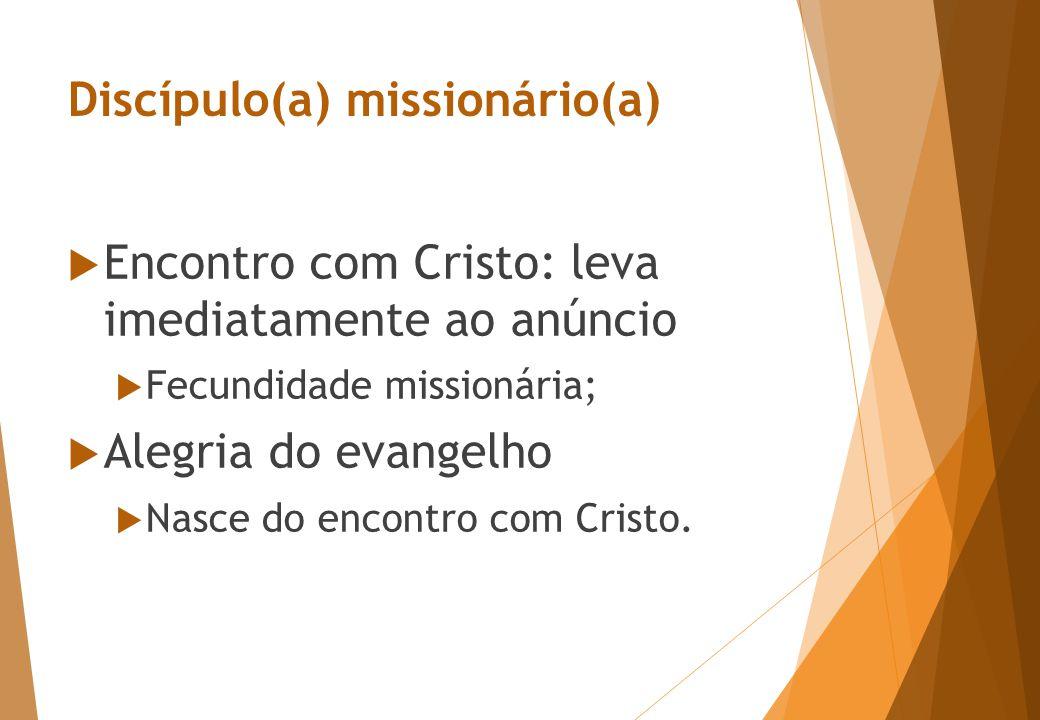 Discípulo(a) missionário(a)  Encontro com Cristo: leva imediatamente ao anúncio  Fecundidade missionária;  Alegria do evangelho  Nasce do encontro com Cristo.