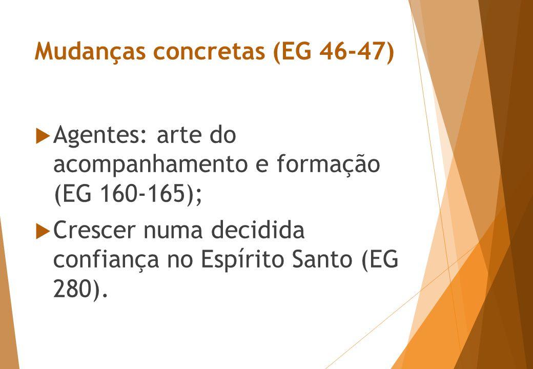 Mudanças concretas (EG 46-47)  Agentes: arte do acompanhamento e formação (EG 160-165);  Crescer numa decidida confiança no Espírito Santo (EG 280).