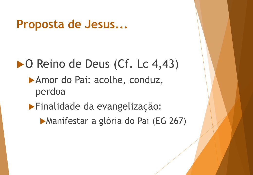 Proposta de Jesus...  O Reino de Deus (Cf.