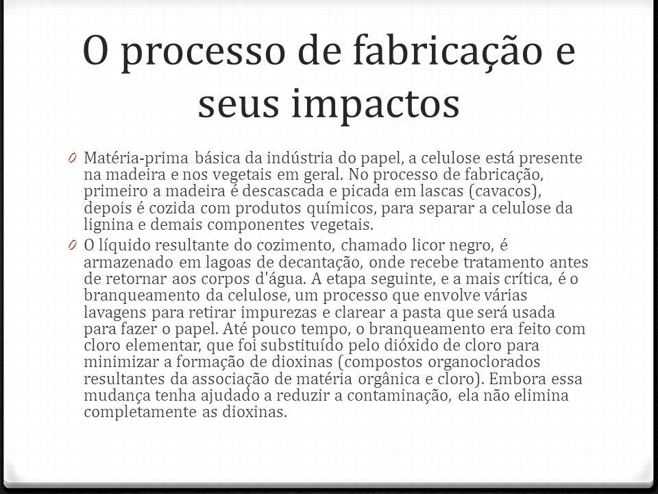 O processo de fabricação e seus impactos 0 Matéria-prima básica da indústria do papel, a celulose está presente na madeira e nos vegetais em geral. No