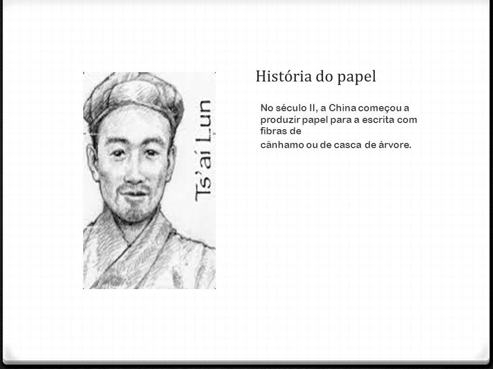 Primeiros Materiais O marquês Tsai- lun produziu papel, a partir de 105 d.C., com materiais baratos – casca de árvores, extremidades de cânhamo, farrapos de seda/algodão e redes de pesca rasgadas.