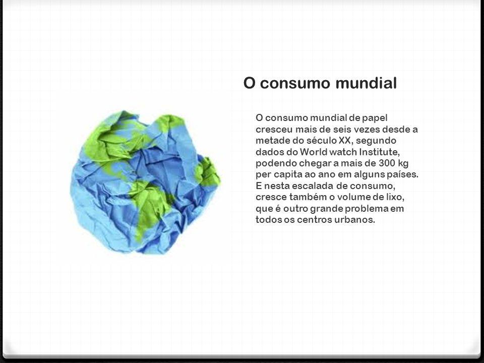 O consumo mundial O consumo mundial de papel cresceu mais de seis vezes desde a metade do século XX, segundo dados do World watch Institute, podendo c
