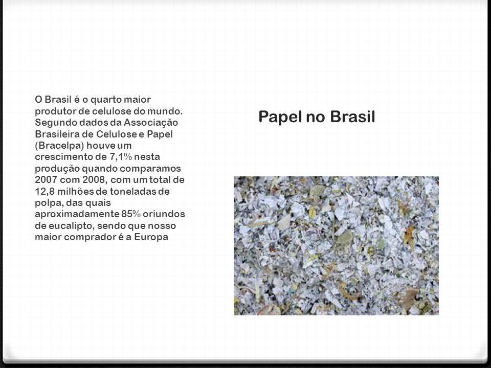 0 No Brasil, 100% da produção de papel e celulose utilizam matéria-prima proveniente de áreas de reflorestamento, principalmente de eucalipto (85%) e pinus (15%).