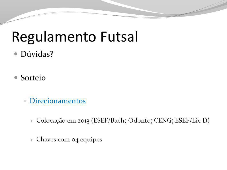 Regulamento Futsal Dúvidas? Sorteio Direcionamentos Colocação em 2013 (ESEF/Bach; Odonto; CENG; ESEF/Lic D) Chaves com 04 equipes