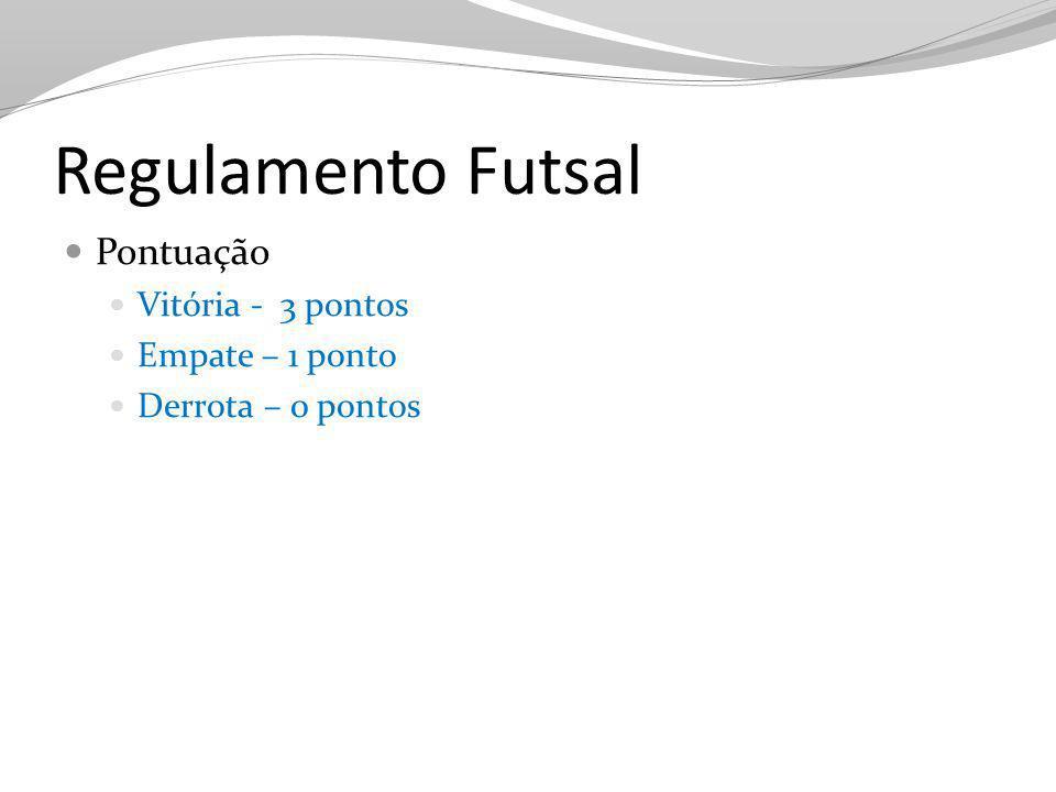 Regulamento Futsal Pontuação Vitória - 3 pontos Empate – 1 ponto Derrota – 0 pontos