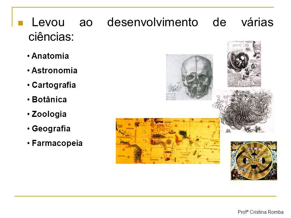 Levou ao desenvolvimento de várias ciências: Anatomia Astronomia Cartografia Botânica Zoologia Geografia Farmacopeia Profª Cristina Romba