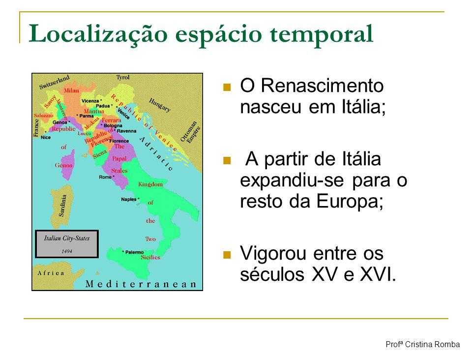 Localização espácio temporal O Renascimento nasceu em Itália; A partir de Itália expandiu-se para o resto da Europa; Vigorou entre os séculos XV e XVI