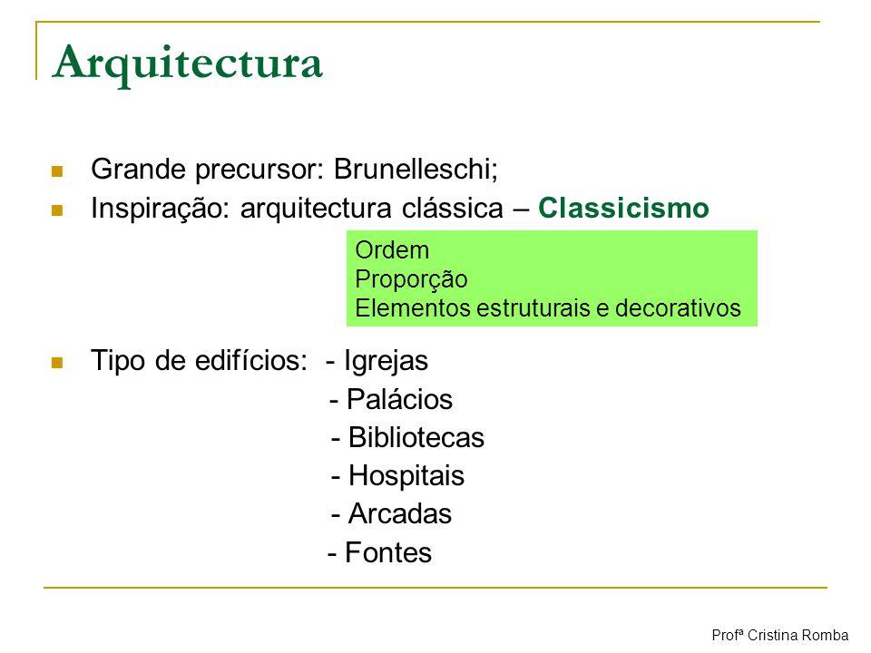 Arquitectura Grande precursor: Brunelleschi; Inspiração: arquitectura clássica – Classicismo Tipo de edifícios: - Igrejas - Palácios - Bibliotecas - H