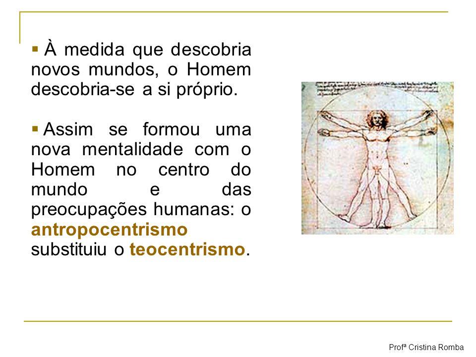 Antropocentrismo O Homem passou a estar no centro do Universo e das preocupações humanas.