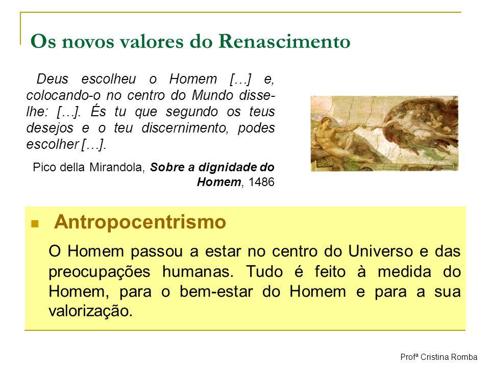 Antropocentrismo O Homem passou a estar no centro do Universo e das preocupações humanas. Tudo é feito à medida do Homem, para o bem-estar do Homem e