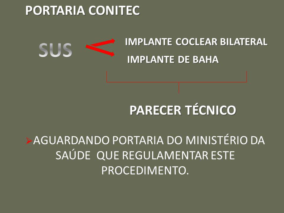 PORTARIA CONITEC IMPLANTE COCLEAR BILATERAL IMPLANTE DE BAHA PARECER TÉCNICO  AGUARDANDO PORTARIA DO MINISTÉRIO DA SAÚDE QUE REGULAMENTAR ESTE PROCEDIMENTO.
