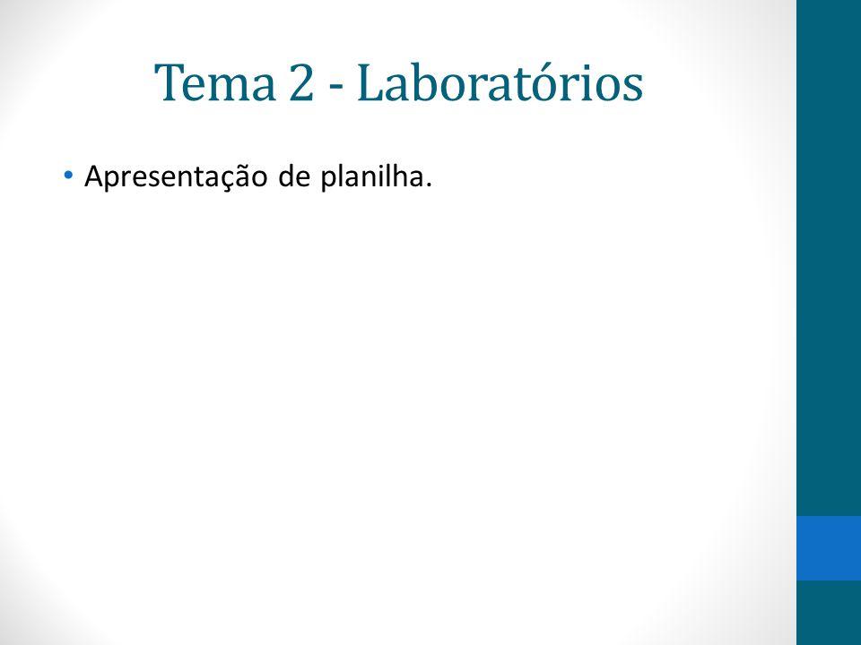 Tema 2 - Laboratórios Apresentação de planilha.