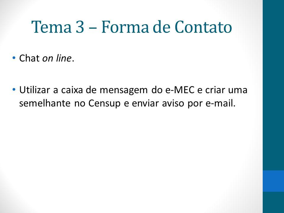 Tema 3 – Forma de Contato Chat on line.