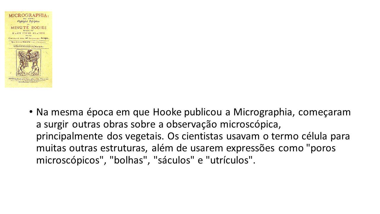 Na mesma época em que Hooke publicou a Micrographia, começaram a surgir outras obras sobre a observação microscópica, principalmente dos vegetais. Os