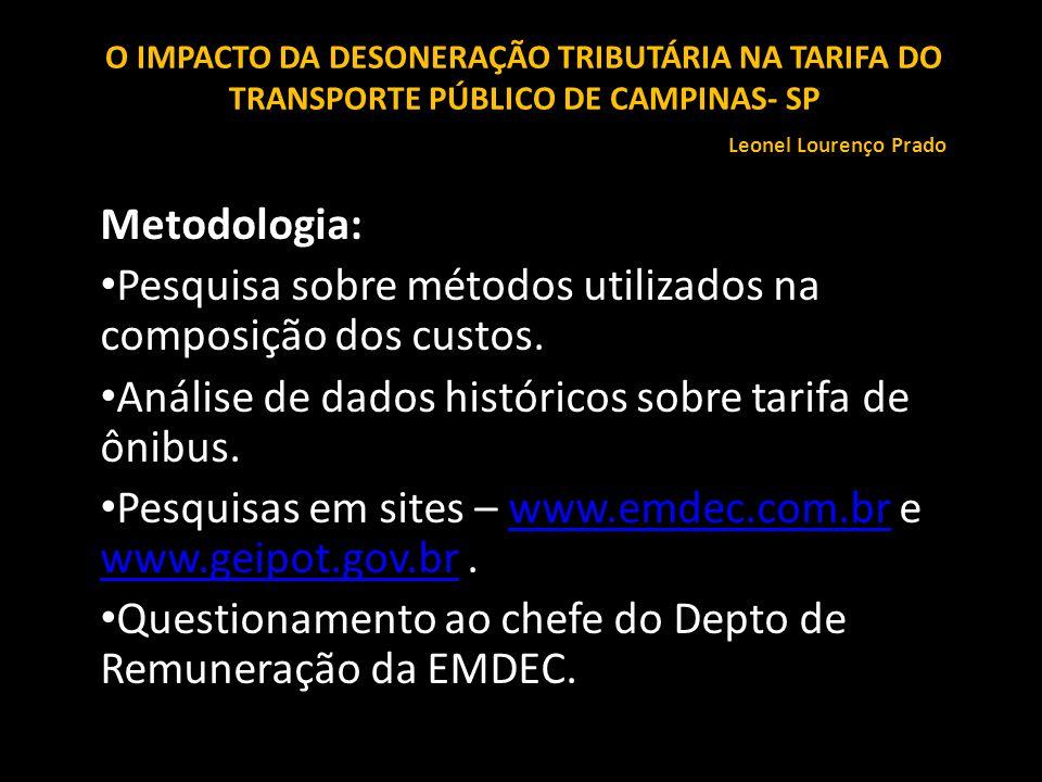 Metodologia: Pesquisa sobre métodos utilizados na composição dos custos. Análise de dados históricos sobre tarifa de ônibus. Pesquisas em sites – www.