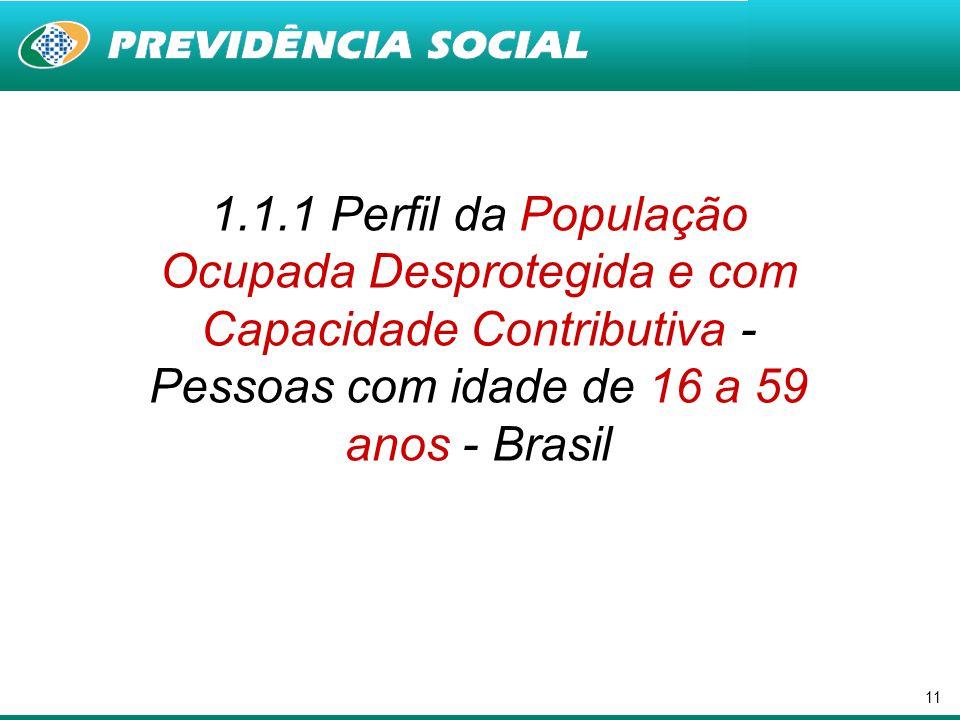 11 1.1.1 Perfil da População Ocupada Desprotegida e com Capacidade Contributiva - Pessoas com idade de 16 a 59 anos - Brasil