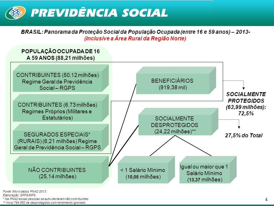 4 BRASIL: Panorama da Proteção Social da População Ocupada (entre 16 e 59 anos) – 2013- (Inclusive a Área Rural da Região Norte) Fonte: Micro dados PN