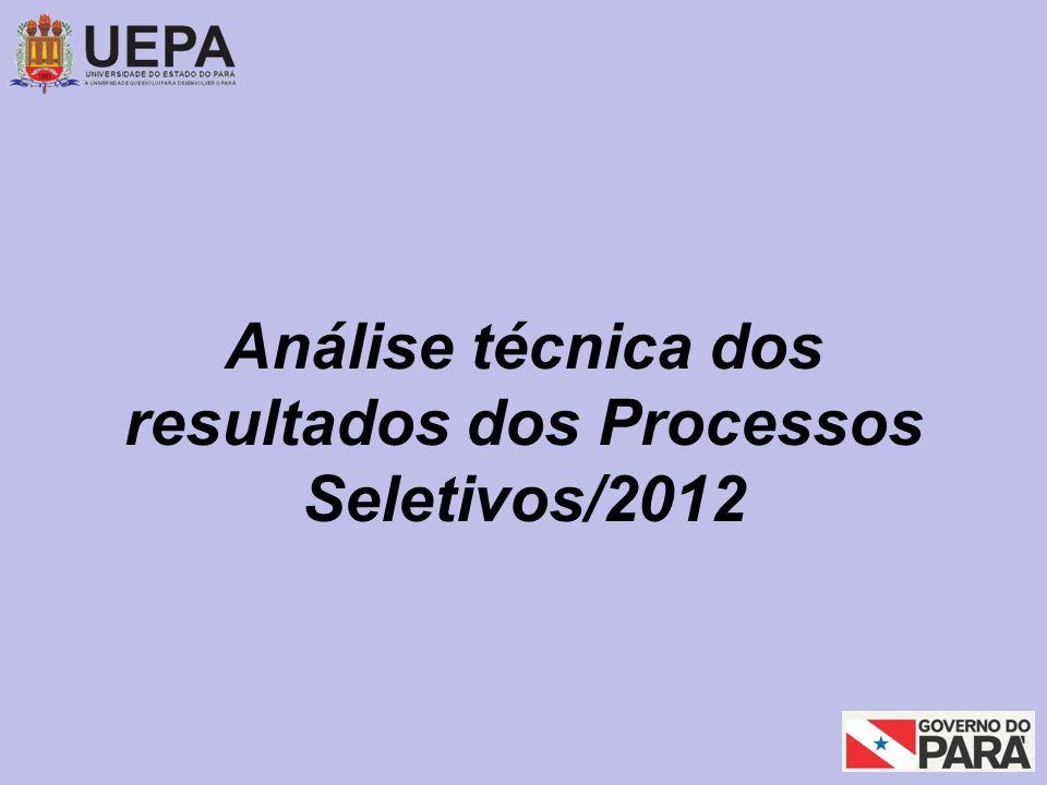 Análise técnica dos resultados dos Processos Seletivos/2012