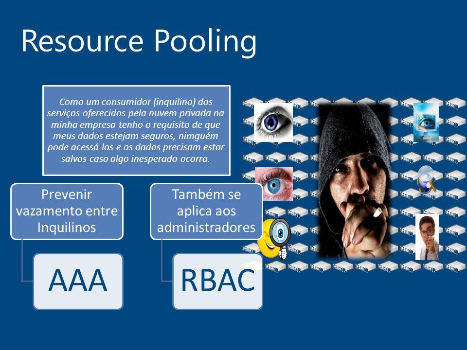 Resource Pooling Como um consumidor (inquilino) dos serviços oferecidos pela nuvem privada na minha empresa tenho o requisito de que meus dados esteja