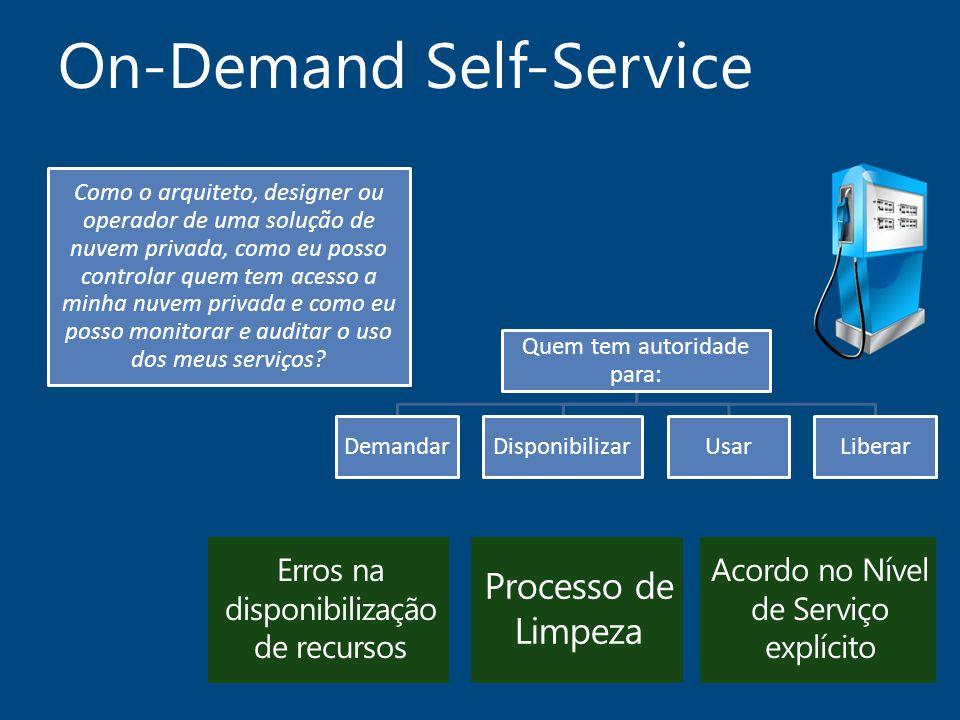 On-Demand Self-Service Como o arquiteto, designer ou operador de uma solução de nuvem privada, como eu posso controlar quem tem acesso a minha nuvem p