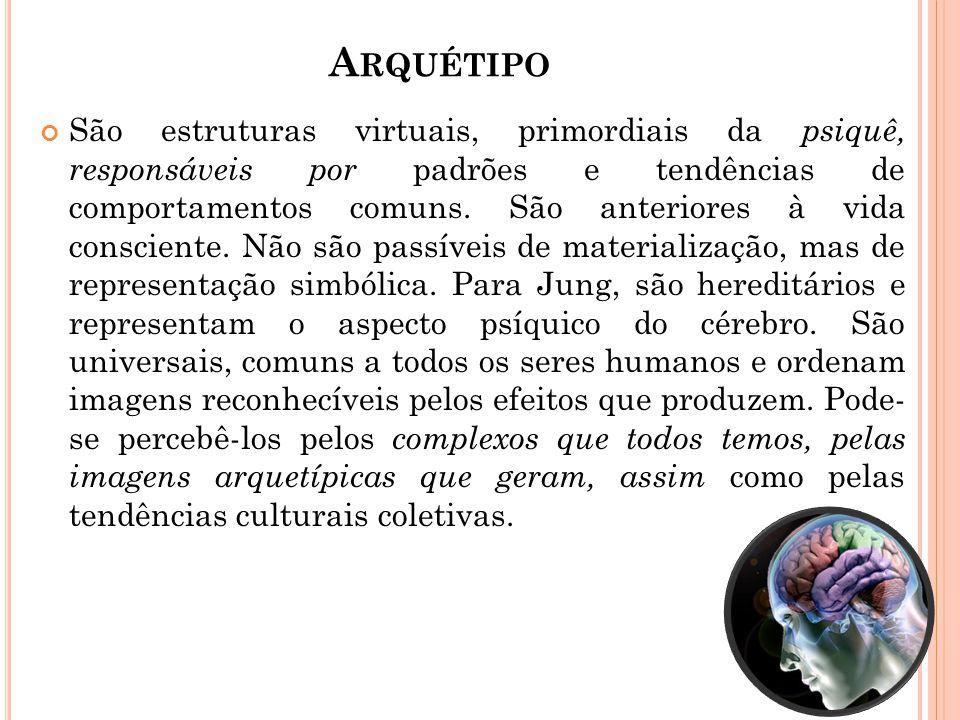 A RQUÉTIPO São estruturas virtuais, primordiais da psiquê, responsáveis por padrões e tendências de comportamentos comuns. São anteriores à vida consc