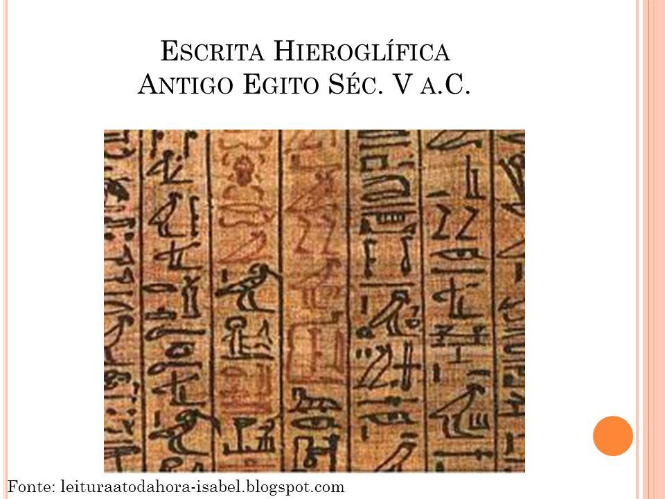 E SCRITA H IEROGLÍFICA A NTIGO E GITO S ÉC. V A.C. Fonte: leituraatodahora-isabel.blogspot.com