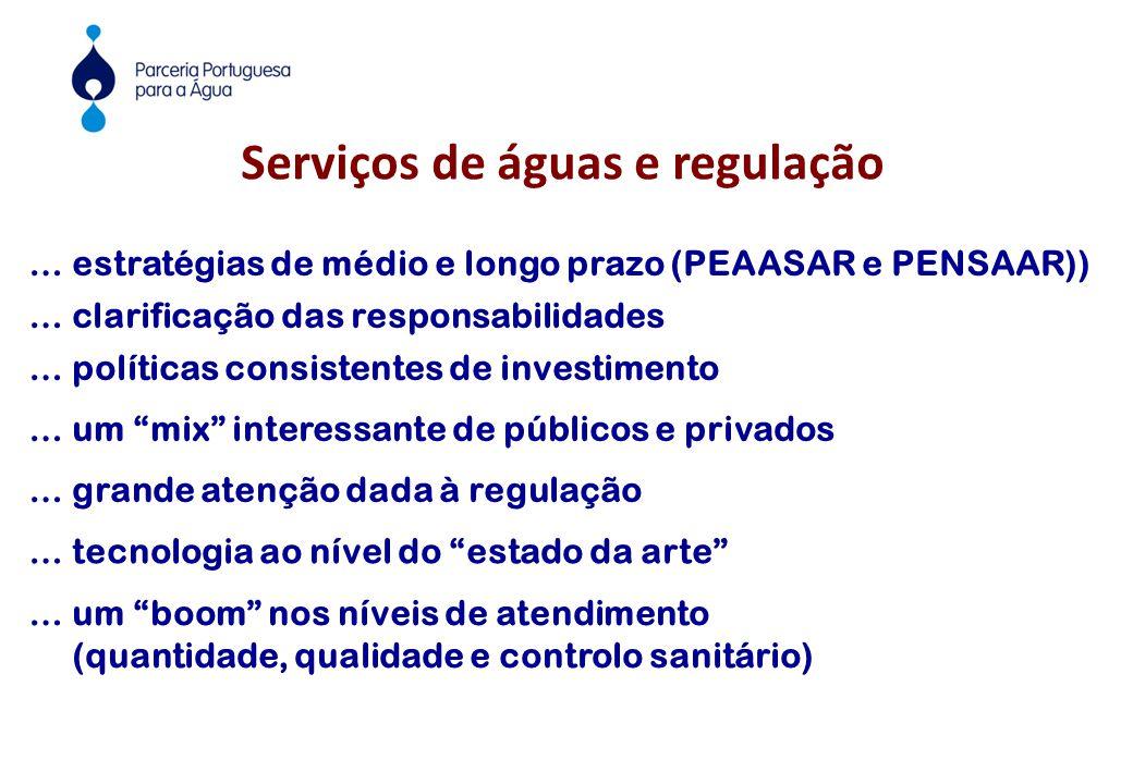 """Serviços de águas e regulação … políticas consistentes de investimento … um """"mix"""" interessante de públicos e privados … grande atenção dada à regulaçã"""