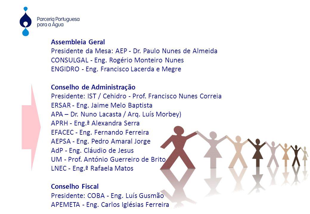 Assembleia Geral Presidente da Mesa: AEP - Dr. Paulo Nunes de Almeida CONSULGAL - Eng. Rogério Monteiro Nunes ENGIDRO - Eng. Francisco Lacerda e Megre