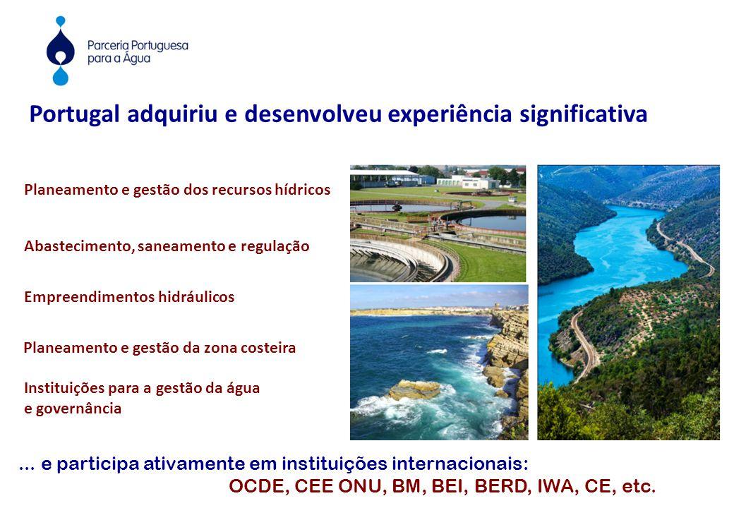 Portugal adquiriu e desenvolveu experiência significativa Planeamento e gestão dos recursos hídricos Instituições para a gestão da água e governância