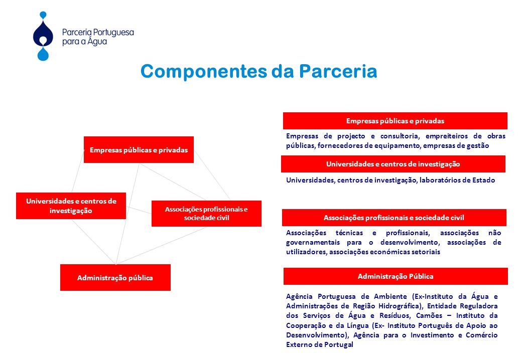 Administração pública Empresas públicas e privadas Associações profissionais e sociedade civil Empresas públicas e privadas Componentes da Parceria As