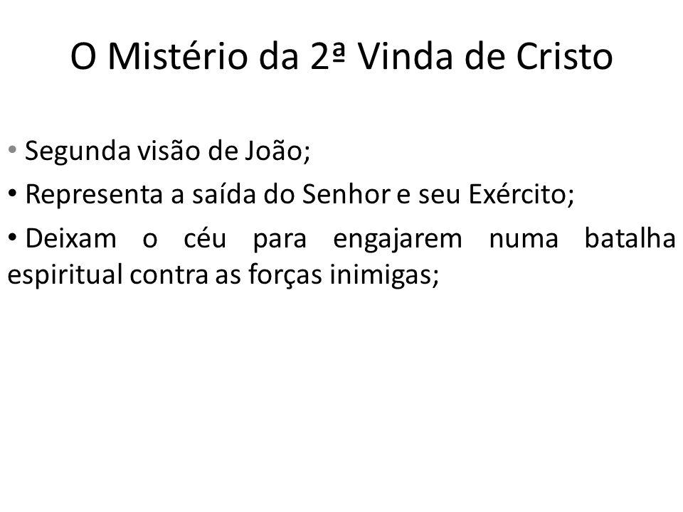 O Mistério da 2ª Vinda de Cristo Segunda visão de João; Representa a saída do Senhor e seu Exército; Deixam o céu para engajarem numa batalha espiritu