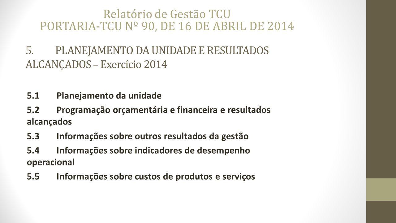 5.PLANEJAMENTO DA UNIDADE E RESULTADOS ALCANÇADOS – Exercício 2014 5.1Planejamento da unidade 5.2Programação orçamentária e financeira e resultados alcançados 5.3Informações sobre outros resultados da gestão 5.4Informações sobre indicadores de desempenho operacional 5.5Informações sobre custos de produtos e serviços Relatório de Gestão TCU PORTARIA-TCU Nº 90, DE 16 DE ABRIL DE 2014