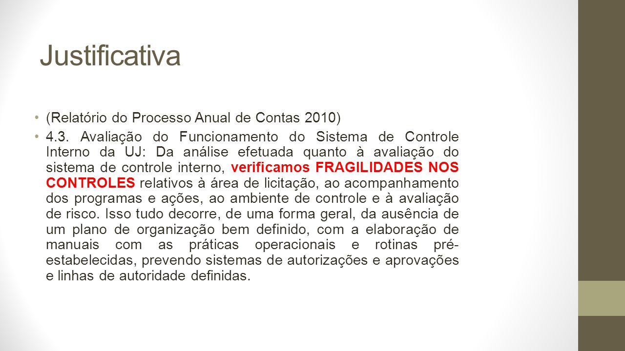 Justificativa (Relatório do Processo Anual de Contas 2010) 4.3.