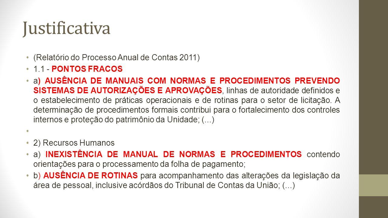 Justificativa (Relatório do Processo Anual de Contas 2011) 1.1 - PONTOS FRACOS a) AUSÊNCIA DE MANUAIS COM NORMAS E PROCEDIMENTOS PREVENDO SISTEMAS DE AUTORIZAÇÕES E APROVAÇÕES, linhas de autoridade definidos e o estabelecimento de práticas operacionais e de rotinas para o setor de licitação.