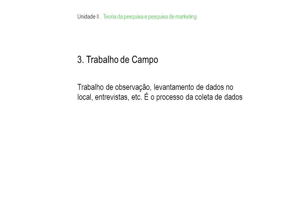 Unidade II. Teoria da pesquisa e pesquisa de marketing 3. Trabalho de Campo Trabalho de observação, levantamento de dados no local, entrevistas, etc.
