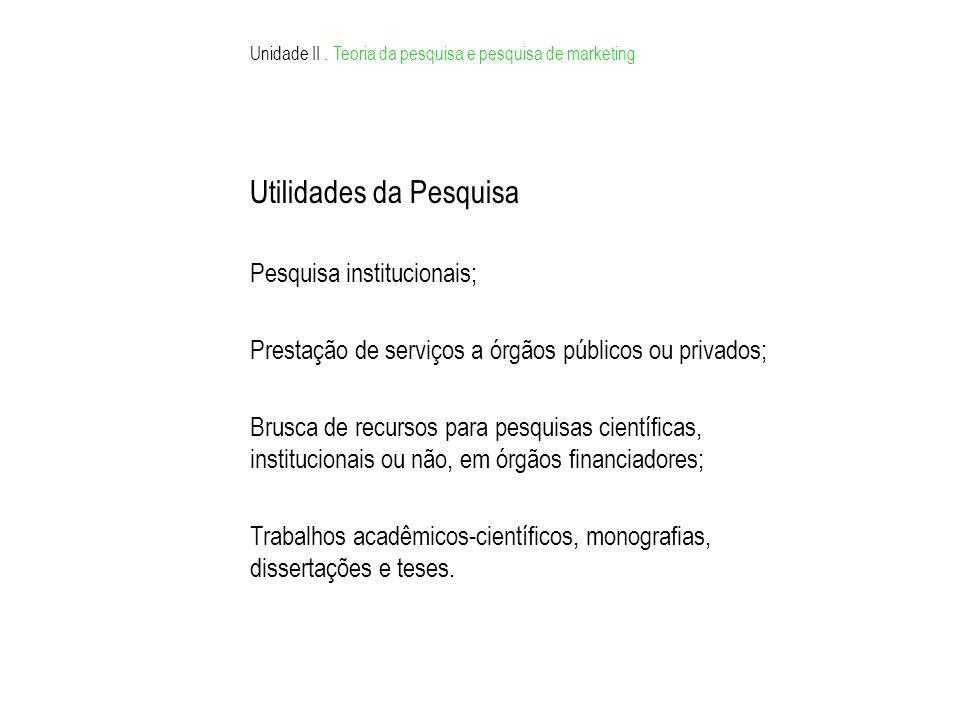 Utilidades da Pesquisa Pesquisa institucionais; Prestação de serviços a órgãos públicos ou privados; Brusca de recursos para pesquisas científicas, institucionais ou não, em órgãos financiadores; Trabalhos acadêmicos-científicos, monografias, dissertações e teses.