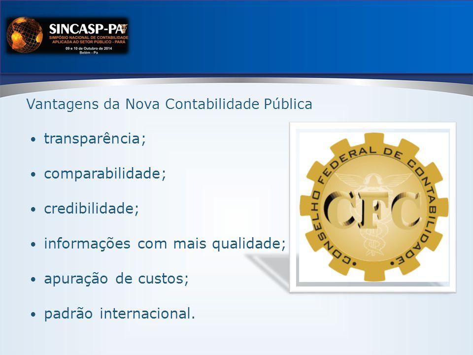 Vantagens da Nova Contabilidade Pública transparência; comparabilidade; credibilidade; informações com mais qualidade; apuração de custos; padrão internacional.