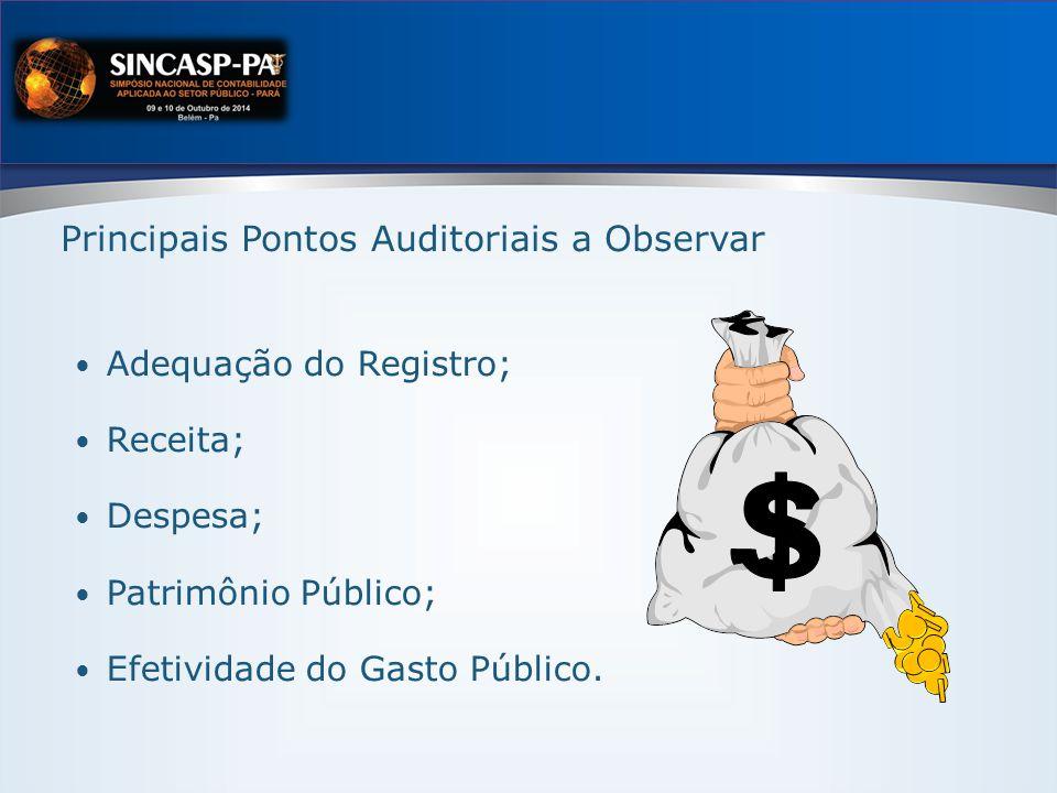 Principais Pontos Auditoriais a Observar Adequação do Registro; Receita; Despesa; Patrimônio Público; Efetividade do Gasto Público.